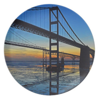 Chesapeake Bay Bridge Sunset Over Icy Waters Dinner Plate