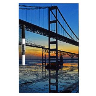 Chesapeake Bay Bridge Sunset Over Icy Waters Dry Erase Board