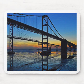 Chesapeake Bay Bridge Sunset Over Icy Waters Mouse Pad