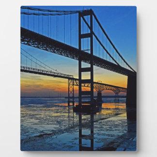 Chesapeake Bay Bridge Sunset Over Icy Waters Plaque