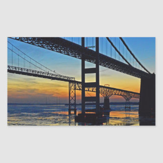Chesapeake Bay Bridge Sunset Over Icy Waters Rectangular Sticker