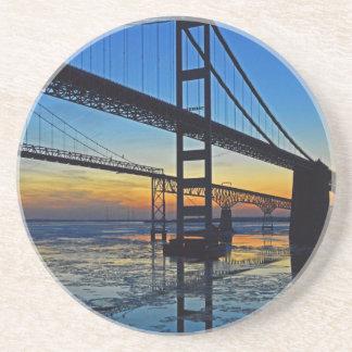 Chesapeake Bay Bridge Sunset Over Icy Waters Sandstone Coaster