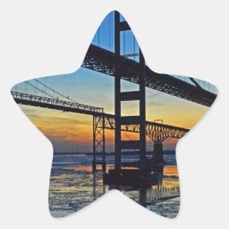 Chesapeake Bay Bridge Sunset Over Icy Waters Star Sticker