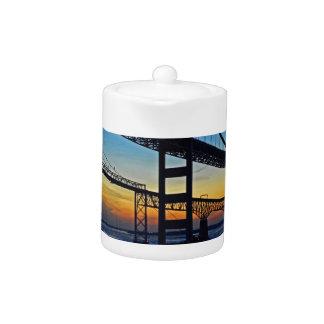Chesapeake Bay Bridge Sunset Over Icy Waters Teapot