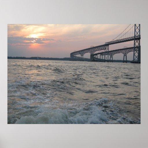 Chesapeake Bay Bridge Sunset photo poster