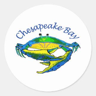CHESAPEAKE BAY CRAB CLASSIC ROUND STICKER
