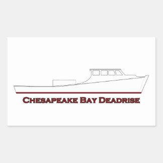 Chesapeake Bay Deadrise Boat (red and white) Rectangular Sticker