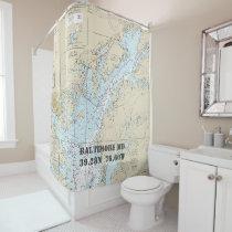Chesapeake Bay Latitude Longitude Nautical Boat Shower Curtain