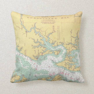 Chesapeake Bay Natuical Chart Throw Pillow