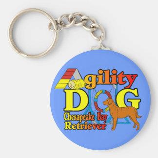 Chesapeake Bay Retriever Agility Basic Round Button Keychain