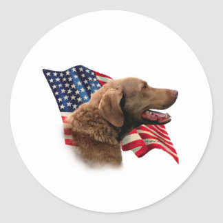 Chesapeake Bay Retriever Flag Round Stickers