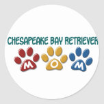 CHESAPEAKE BAY RETRIEVER Mom Paw Print 1 Round Sticker