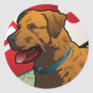 "Chesapeake Bay Retriever of Maryland, ""Chessie"" Classic Round Sticker"