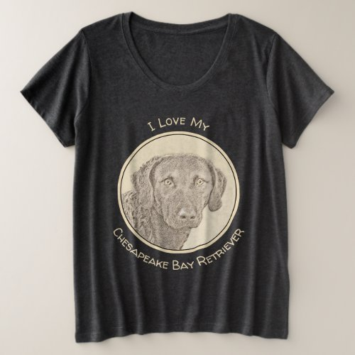 Chesapeake Bay Retriever Painting Original Dog Art Plus Size T_Shirt
