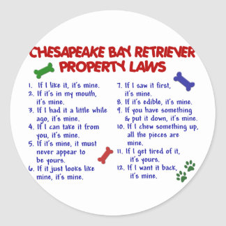 CHESAPEAKE BAY RETRIEVER Property Laws 2 Stickers