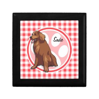 Chesapeake Bay Retriever; Red and White Gingham Jewelry Boxes