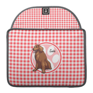 Chesapeake Bay Retriever; Red and White Gingham Sleeves For MacBook Pro