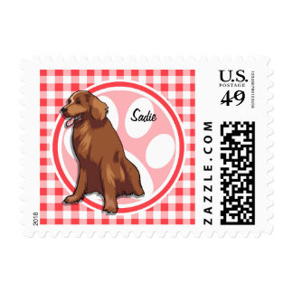 Chesapeake Bay Retriever; Red and White Gingham Stamp
