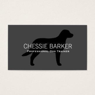 Chesapeake Bay Retriever Silhouette Black on Grey Business Card