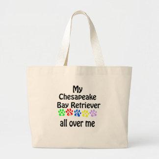 Chesapeake Bay Retriever Walks Design Large Tote Bag