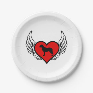 Chesapeake Bay Retriever Winged Heart Love Dogs Paper Plate