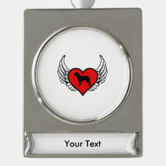 Chesapeake Bay Retriever Winged Heart Love Dogs Silver Plated Banner Ornament