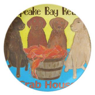 Chesapeake Bay Retriver Crabhouse Party Plate