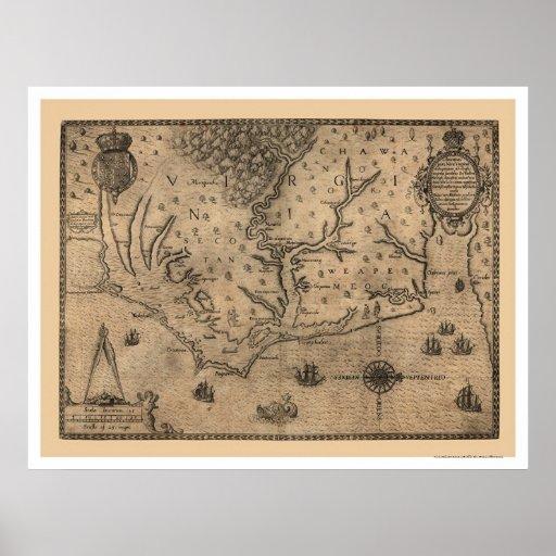 Chesapeake Bay Virginia Map 1590 Poster