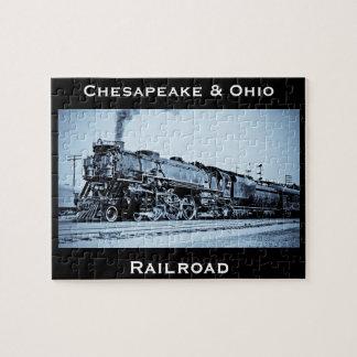 Chesapeake del vintage y motor del tren de ferroca rompecabeza con fotos