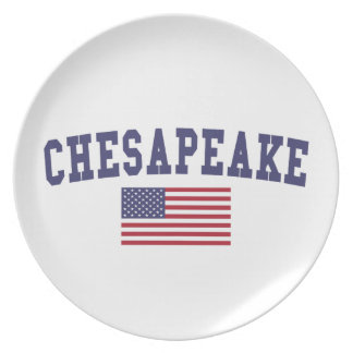 Chesapeake US Flag Melamine Plate