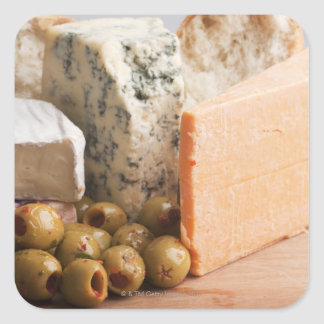 chese and olives square sticker