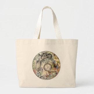 Cheshire Cat Alice in Wonderland Circle Large Tote Bag