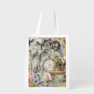 Cheshire Cat Alice in Wonderland Grocery Bag