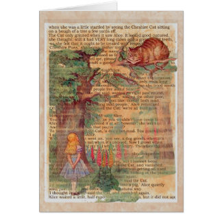 Cheshire cat and alice greeting card