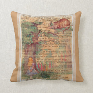 Cheshire cat and Alice Throw Pillows