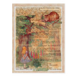 Cheshire cat and Alice Postcard