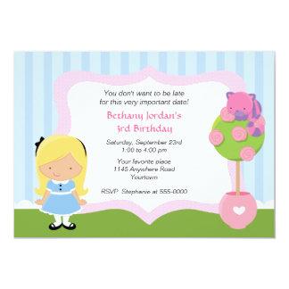 Cheshire Cat and Alice Wonderland Birthday 5x7 Paper Invitation Card