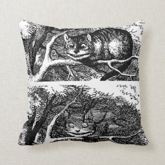 Cheshire cat and Alice's Adventures in Wonderland Throw Pillows