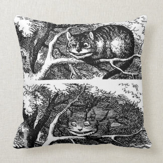 Cheshire cat and Alice's Adventures in Wonderland Throw Pillow