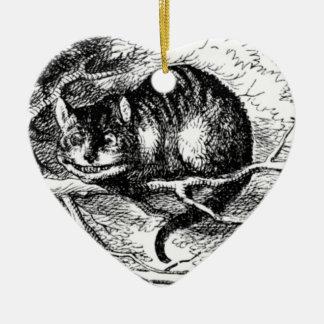 Cheshire Cat Black & White Ceramic Ornament