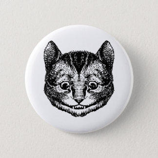 Cheshire Cat Inked Black Button