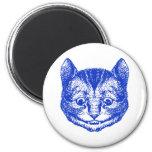 Cheshire Cat Inked Blue Fridge Magnet
