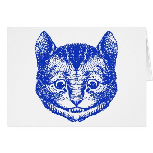Cheshire Cat Inked Blue Greeting Cards
