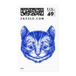 Cheshire Cat Inked Blue Stamp