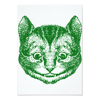 Cheshire Cat Inked Green 5x7 Paper Invitation Card