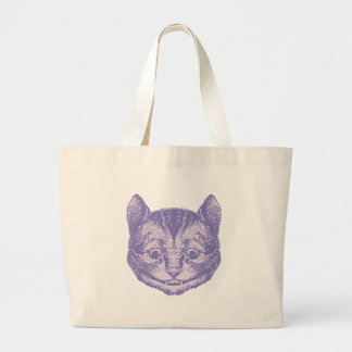 Cheshire Cat Inked Lavender Large Tote Bag