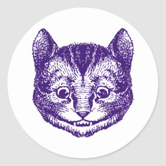Cheshire Cat Inked Purple Classic Round Sticker