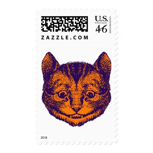 Cheshire Cat Inked Purple Orange Postage