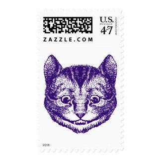 Cheshire Cat Inked Purple Postage Stamp