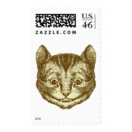 Cheshire Cat Inked Sepia Stamp